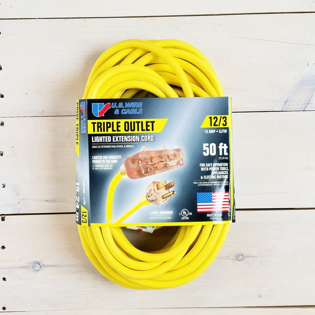 50' 12/3 Yellow Extension Cord with Lighted Triple Outlet