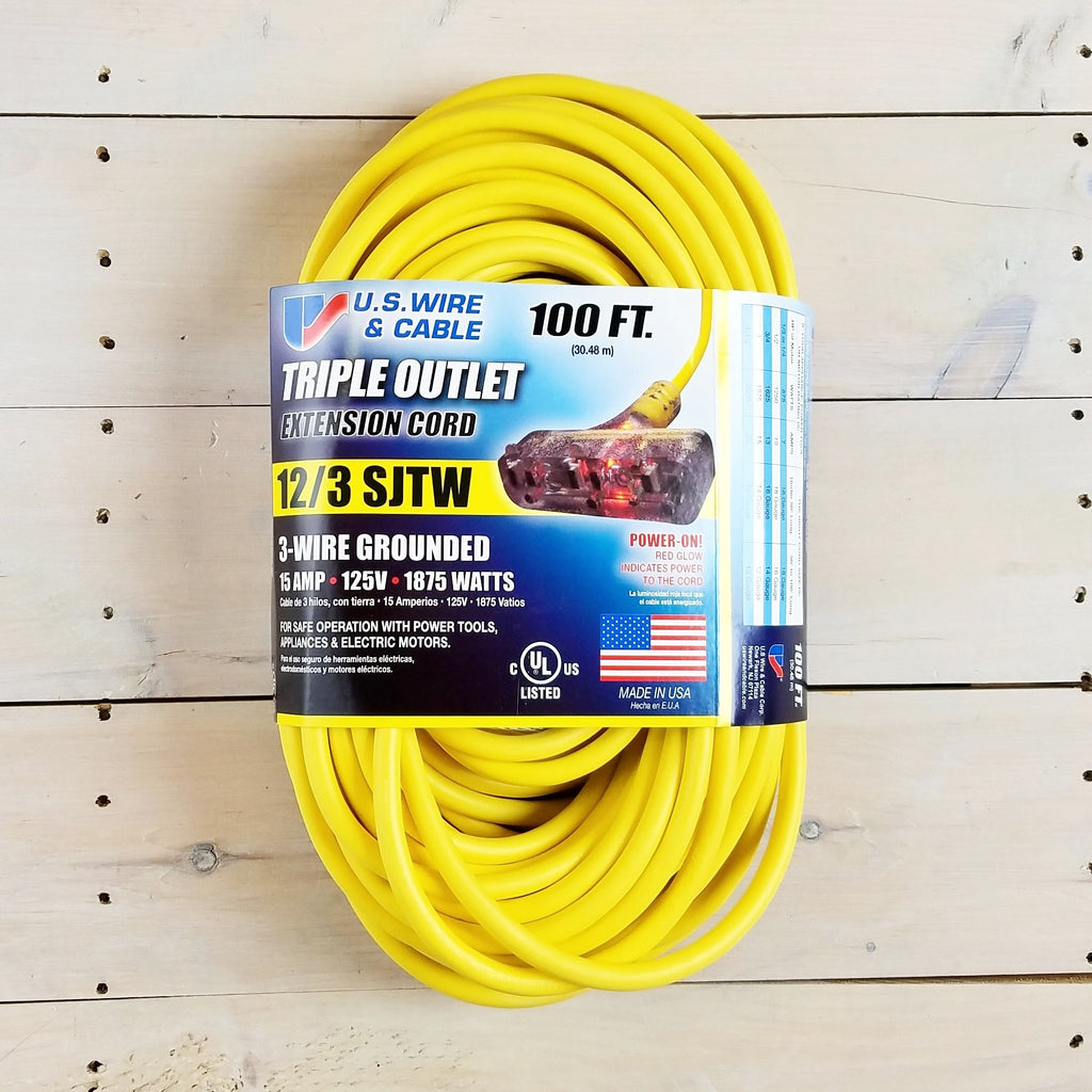 100' 12/3 Yellow  Extension Cord with Lighted Triple Outlet