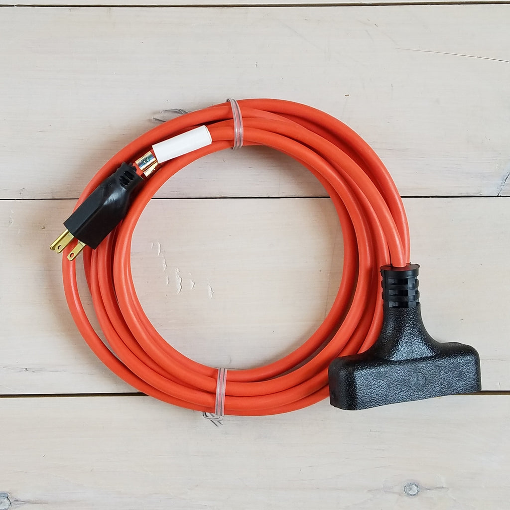 15' 14/3 SJTW Orange Extension Cord with Triple Outlet