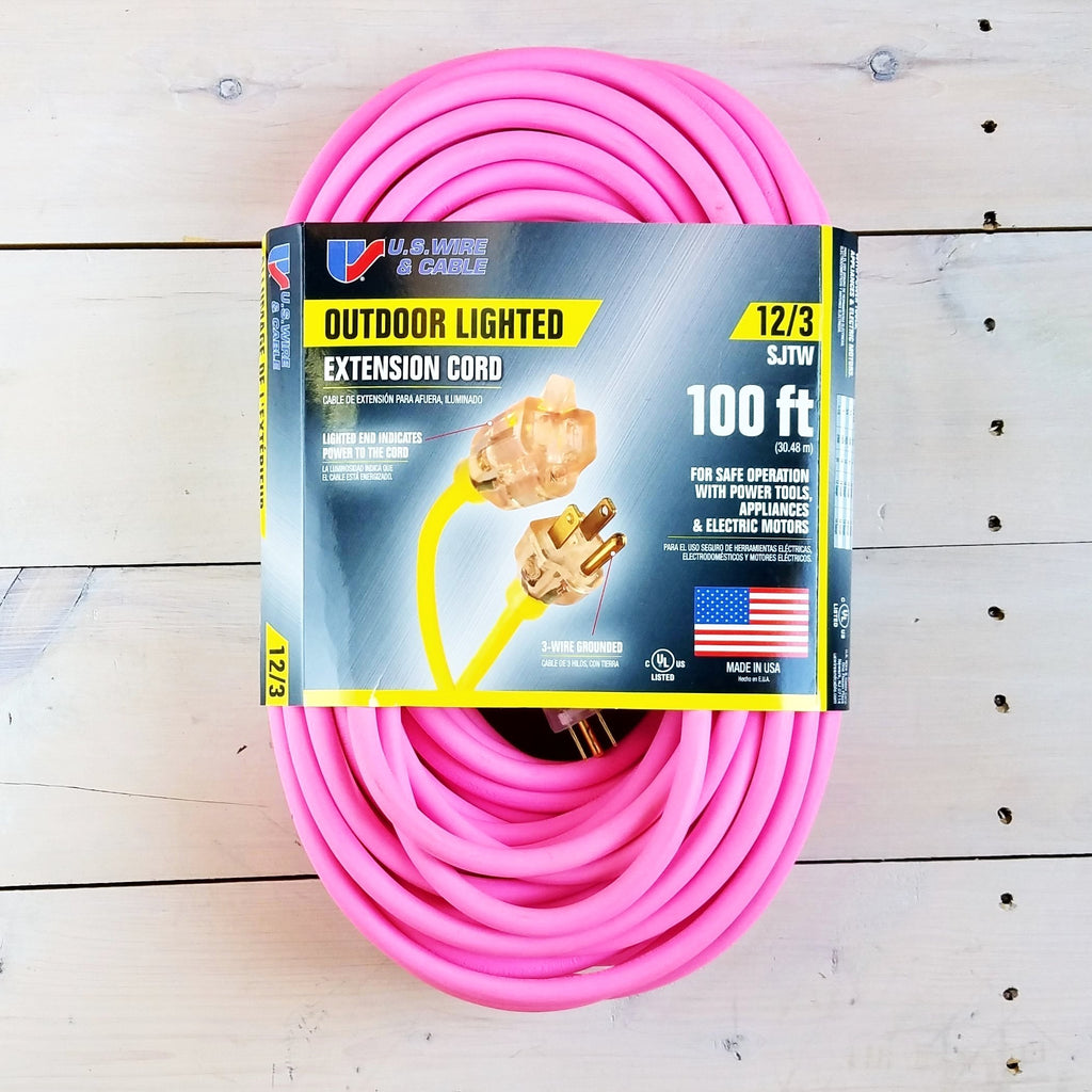 100' 12/3 Fluorescent Pink Extension Cord with Lighted End - USA