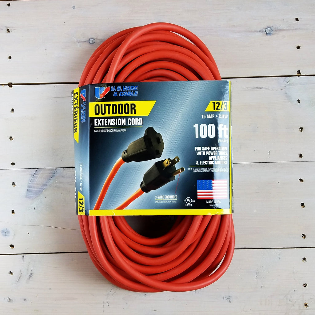 100' 12/3 SJTW Orange Extension Cord - USA