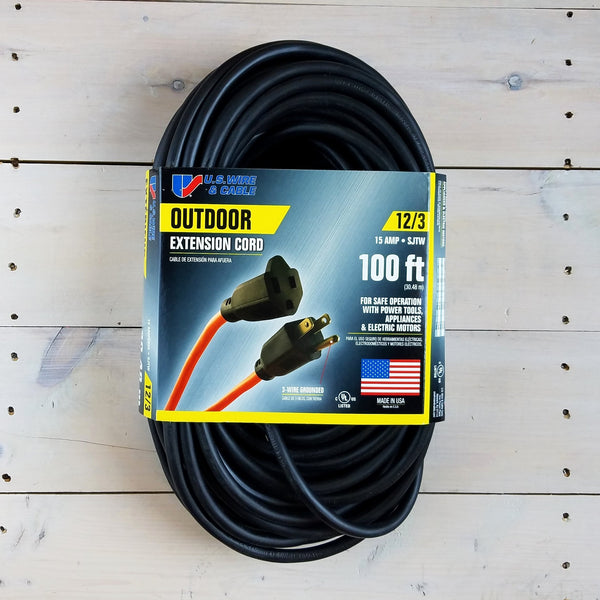 100' 12/3 SJTW Black Extension Cord - USA