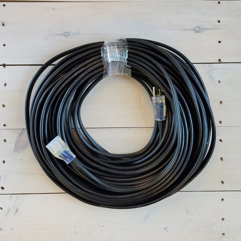 100' 12/3 Black Flat Extension Cord with Lighted End