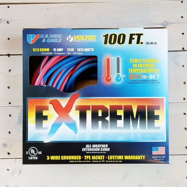 100' 12/3 Blue w Pink Stripe Cold Weather Extension Cord W Lighted End