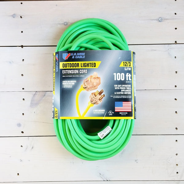 100' 12/3 Fluorescent Green Extension Cord with Lighted End