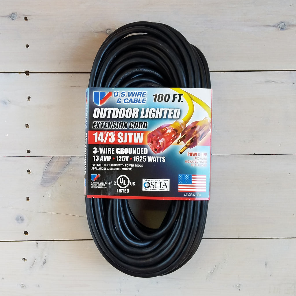 100' 14/3 SJTW Black Extension Cord with Lighted End