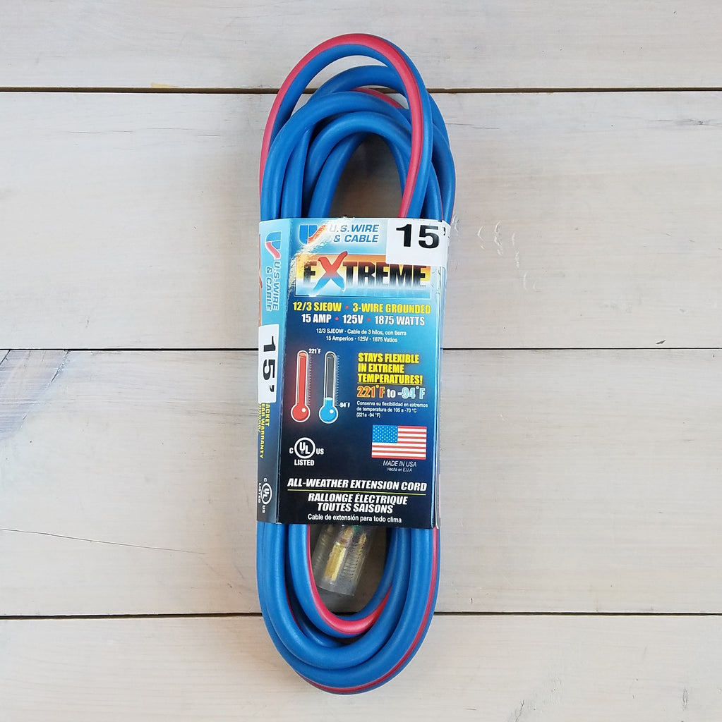 15' 12/3 Blue w Pink Stripe Cold Weather Extension Cord with Lighted End - USA