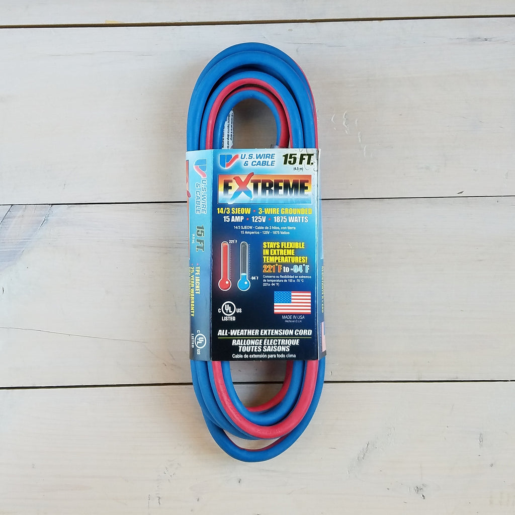 15' 14/3 Blue Cold Weather Extension Cord W Lighted End - USA