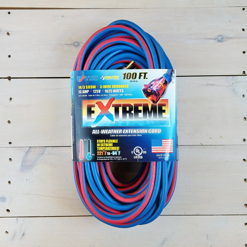 100' 14/3 Blue Cold Weather Extension Cord W Lighted End - USA