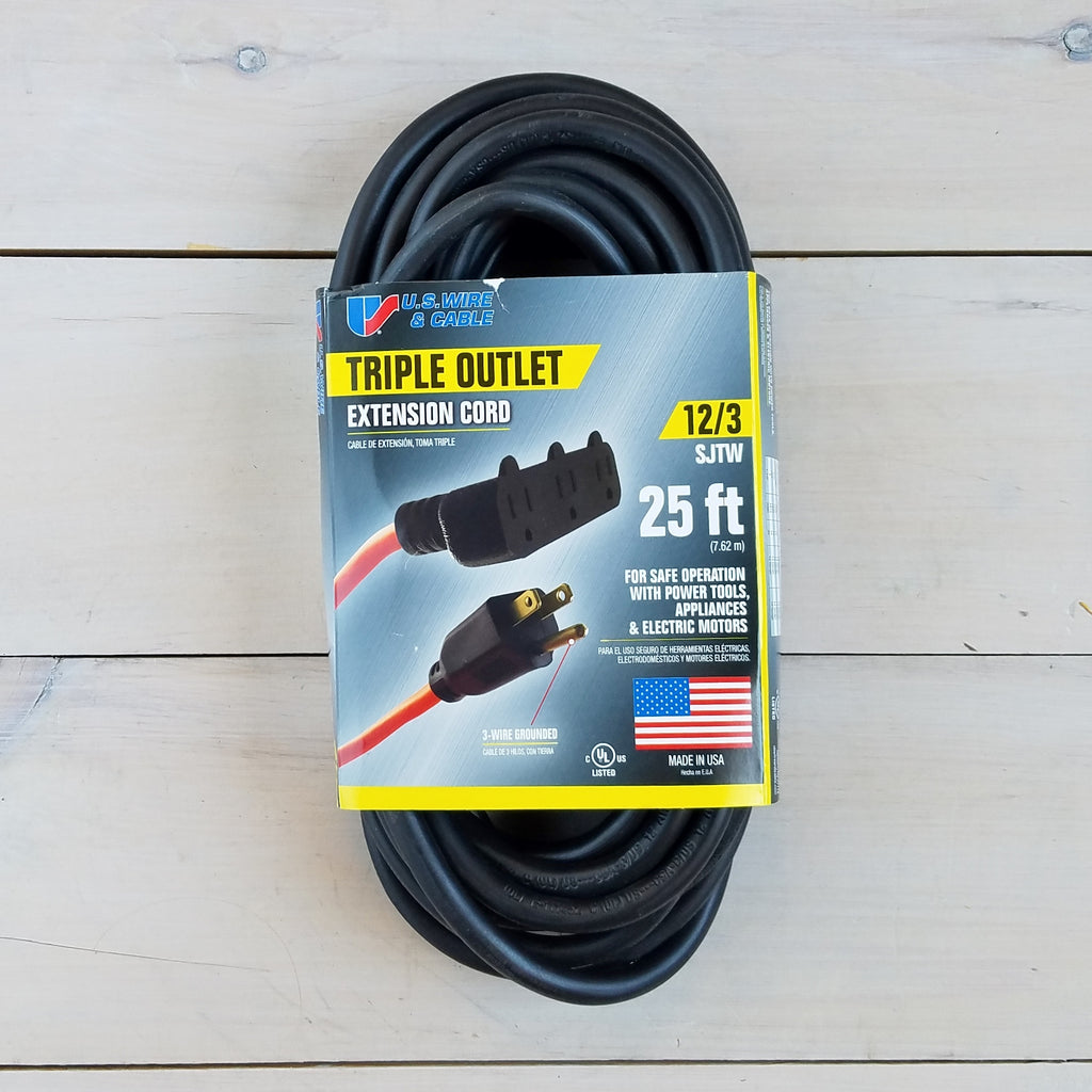 25' 12/3  Black Extension Cord with Triple Outlet