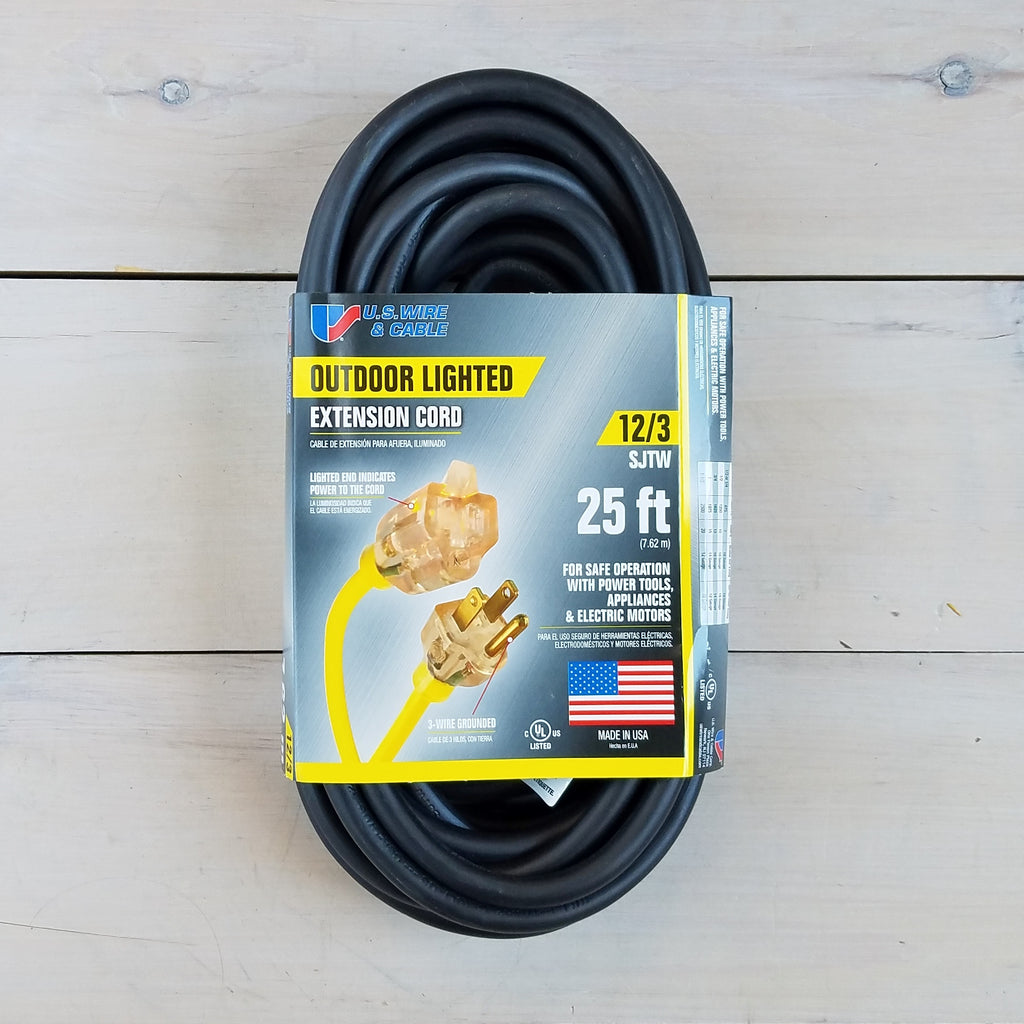 25' 12/3 Black Extension Cord with Lighted End