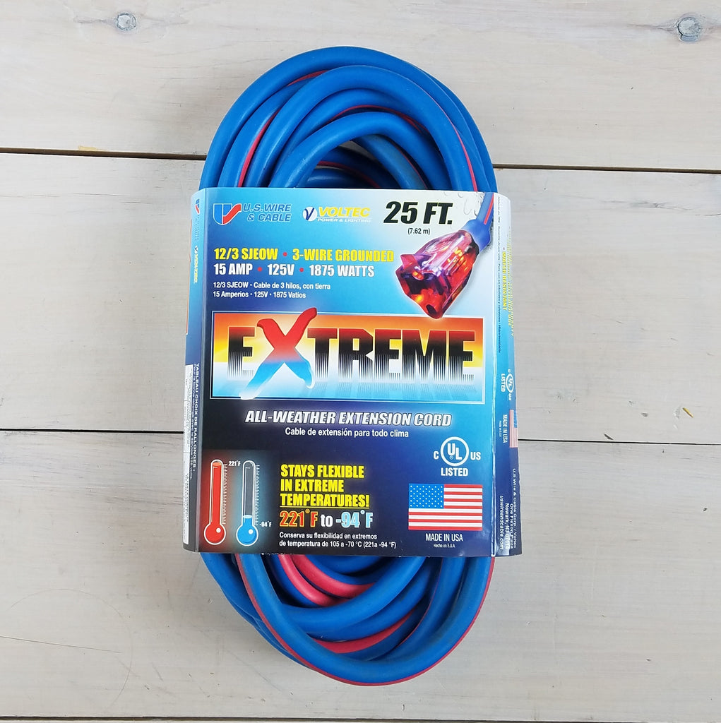 25' 12/3 Blue w Pink Stripe Cold Weather Extension Cord with Lighted End - USA