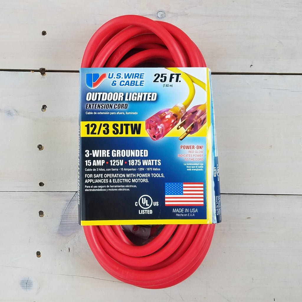 25' 12/3 Red Extension Cord with Lighted End - USA