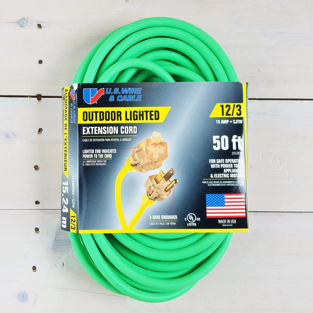 50' 12/3 Fluorescent Green Extension Cord with Lighted End - USA