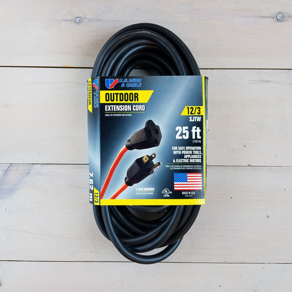 25' 12/3 SJTW Black Extension Cord