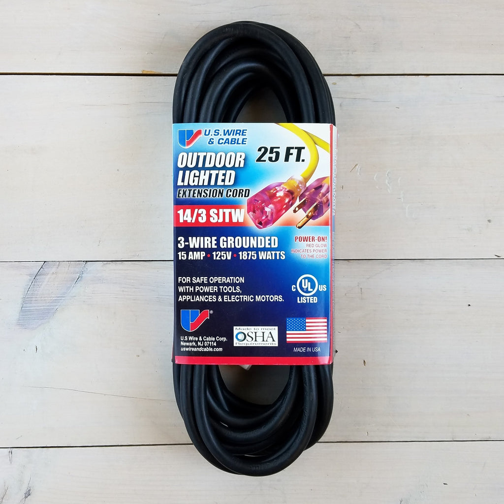 25' 14/3 SJTW Black Extension Cord with Lighted End