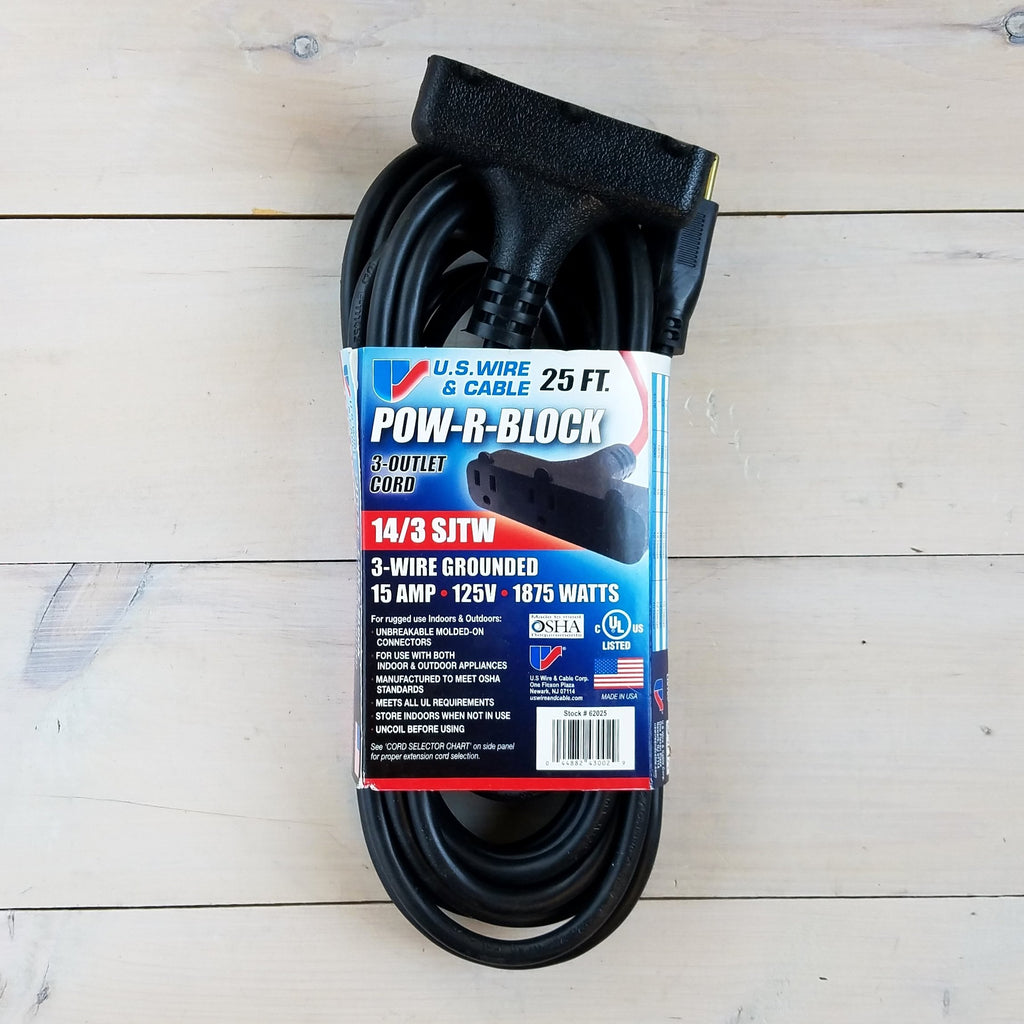 25' 14 Gauge Black Extension Cord with Triple Outlet