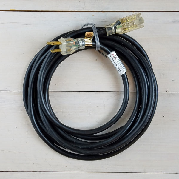 15' 14/3 SJTW Black Extension Cord with Lighted End
