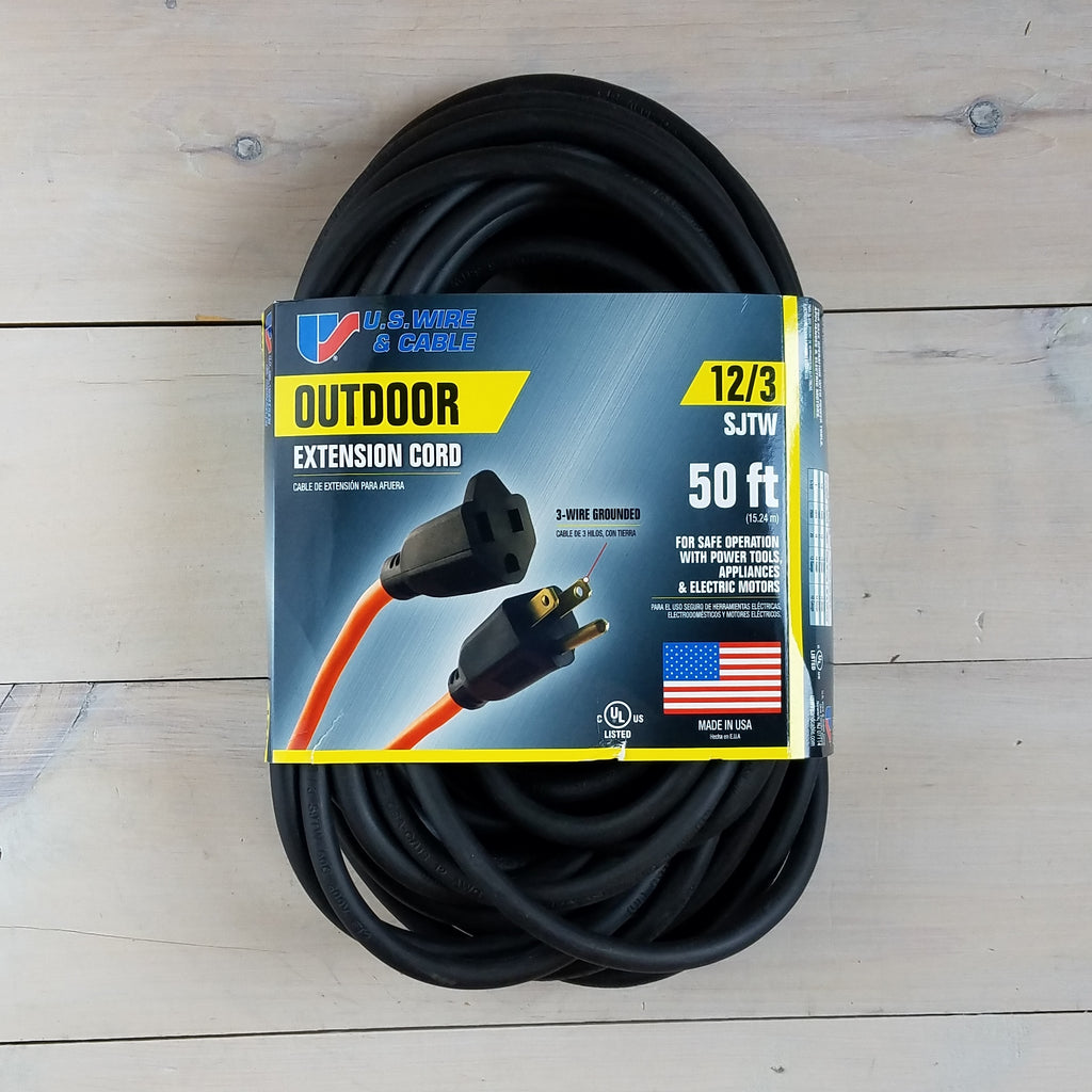 50' 12/3 SJTW Black Extension Cord - USA
