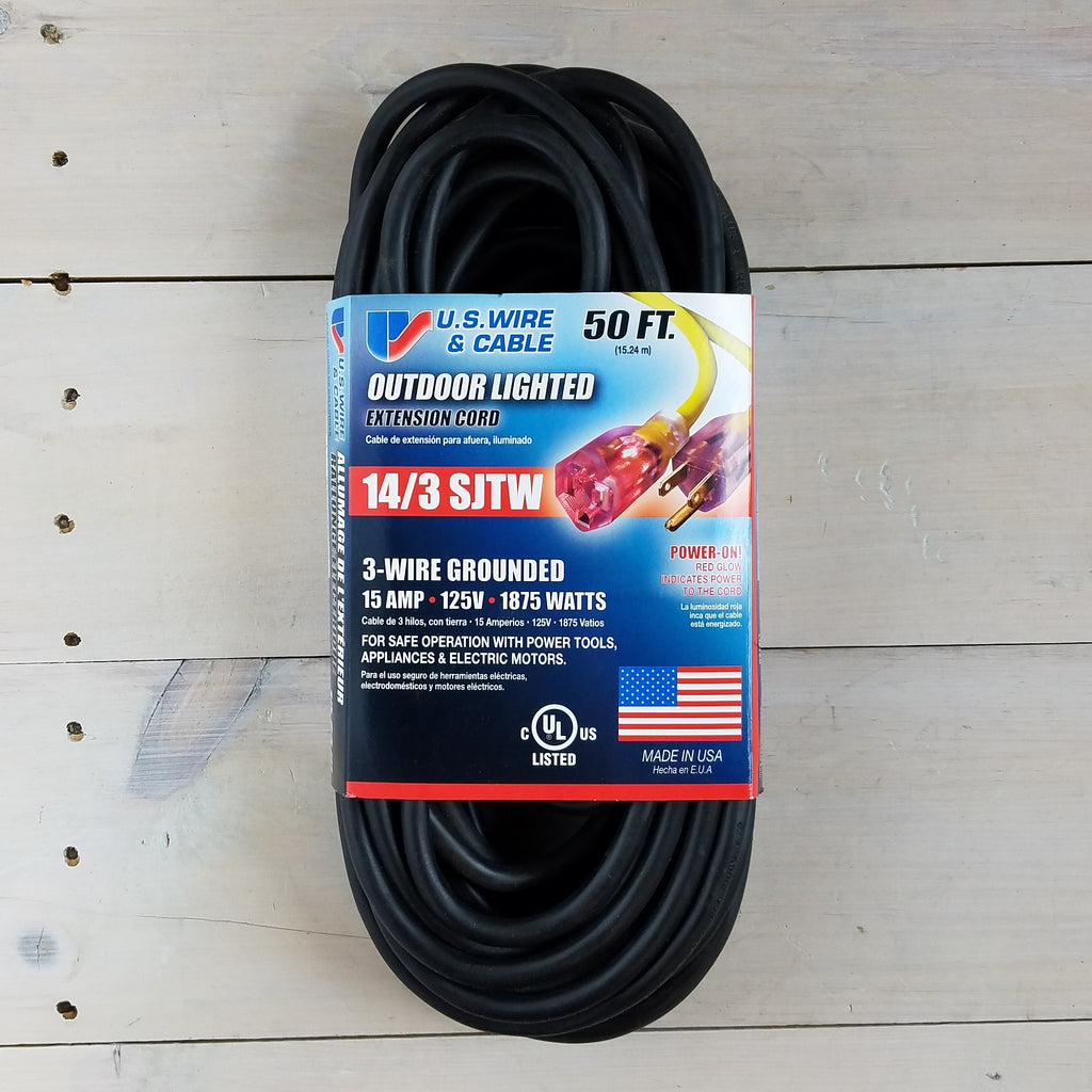50' 14/3 SJTW Black Extension Cord with Lighted End - USA