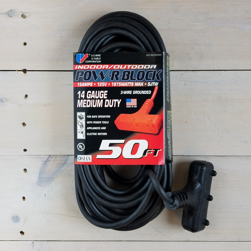 50' 14 Gauge Black Extension Cord with Triple Outlet