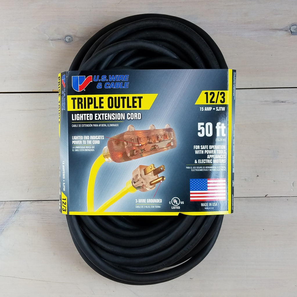 50' 12/3 Black Extension Cord with Lighted Triple Outlet