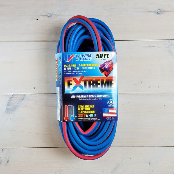 50' 14/3 Blue Cold Weather Extension Cord W Lighted End - USA