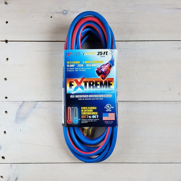 25' 14/3 Blue Cold Weather Extension Cord W Lighted End - USA