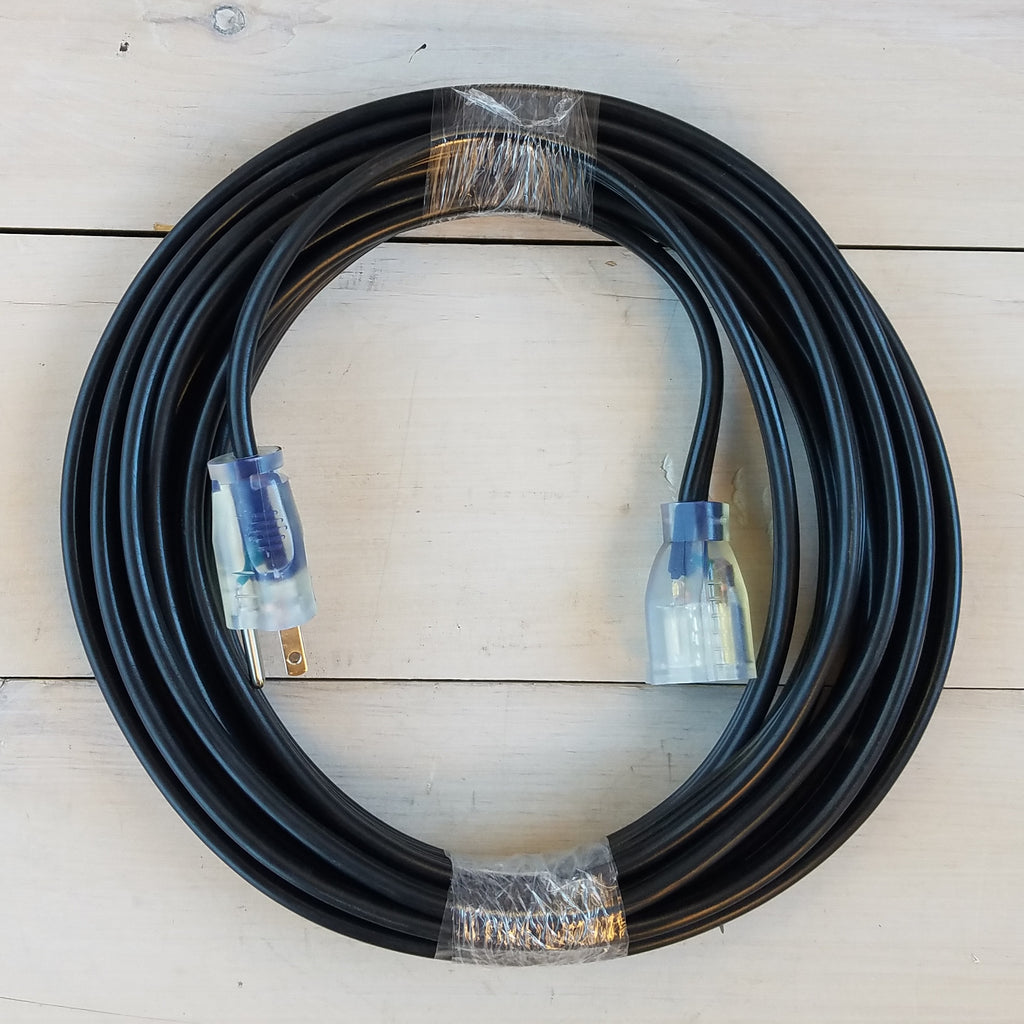 25' 12/3 Black Flat Extension Cord with Lighted End