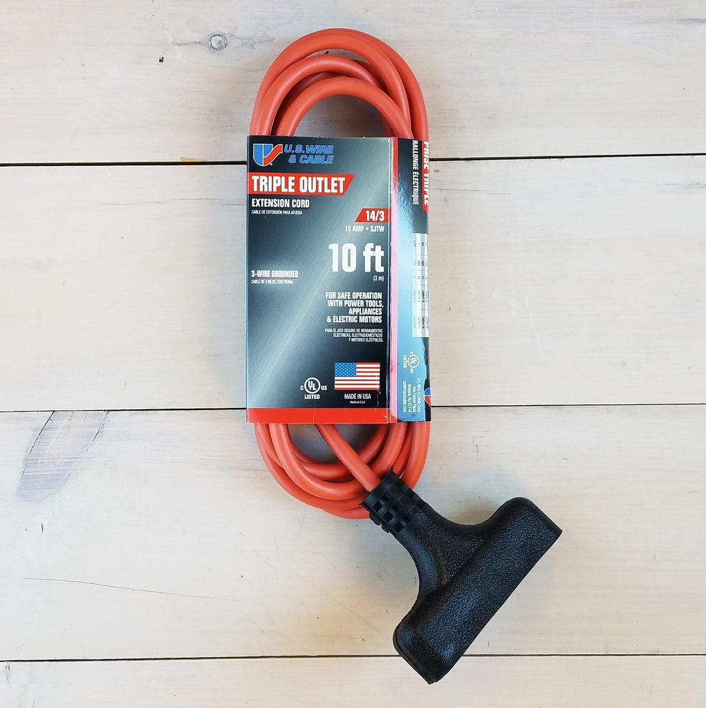 10' 14 Gauge Orange Extension Cord with Triple Outlet