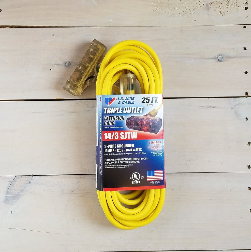 25' 14 Gauge Yellow Extension Cord with Lighted Triple Outlet - USA