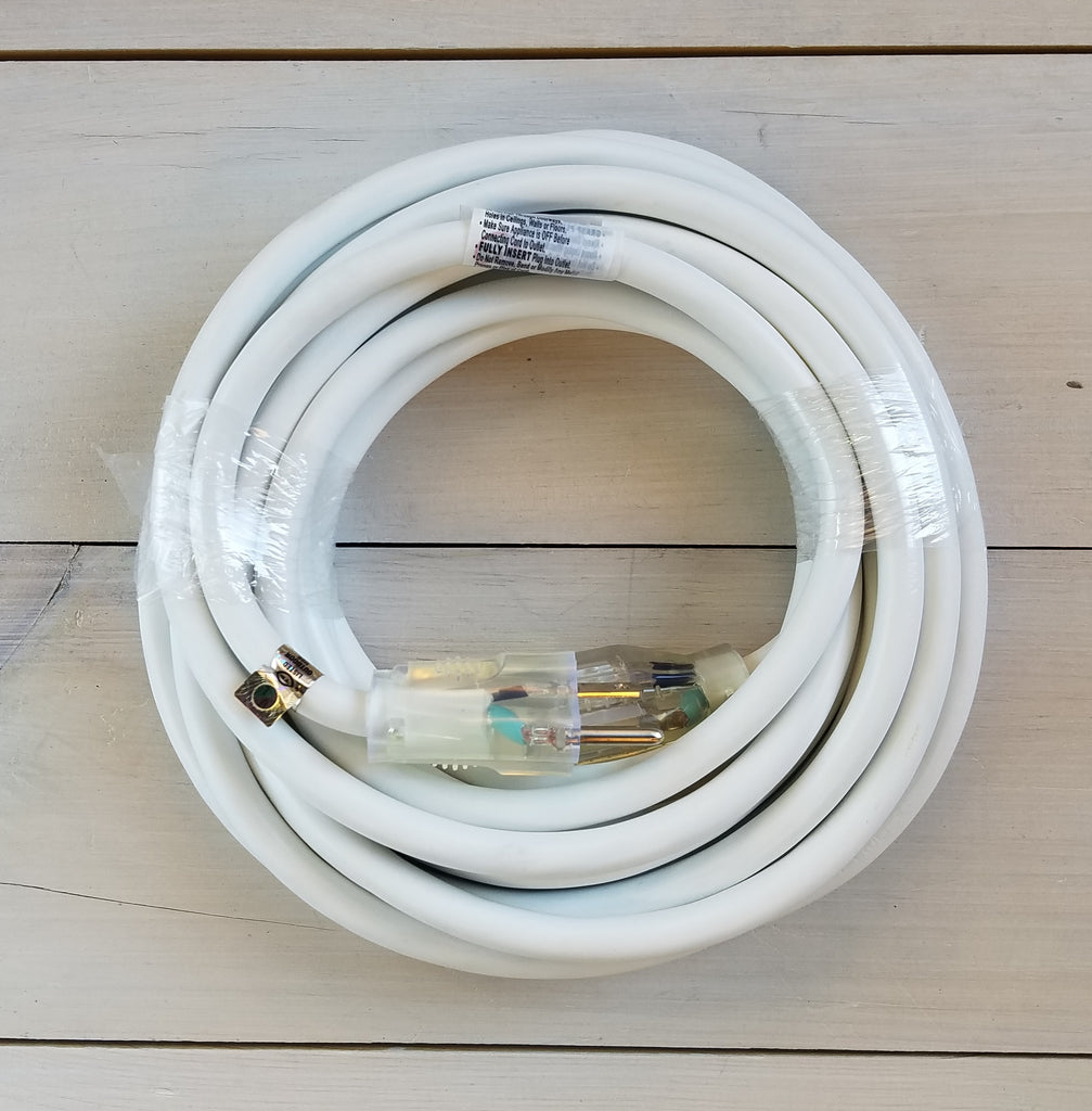 25\' 12/3 White Extension Cord with Lighted End – CD Pro-Power Cords Inc