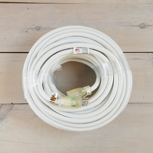 100' 12/3  White Extension Cord with Lighted Female Outlet