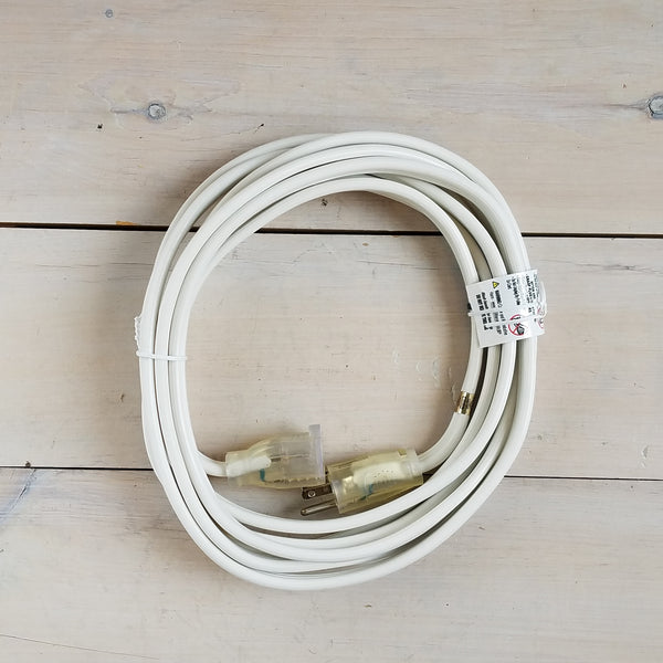 15' 12/3 White Flat Extension Cord with Lighted End