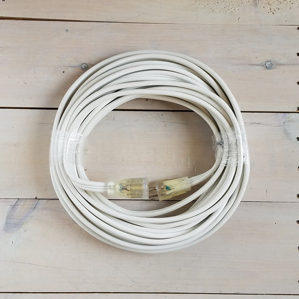 50' 12/3 White Flat Extension Cord with Lighted End