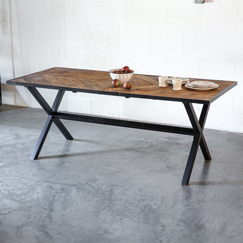 Metal Frame Reclaimed Wood Dining Table