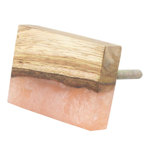 Pink and Wood Rectangle Knob