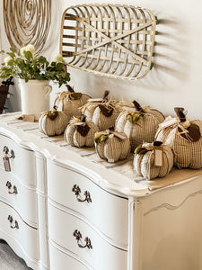 Gray and White Ticking Stripe Pumpkin - Shackteau Interiors