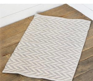 Hand Woven French Blue Chevron Rug