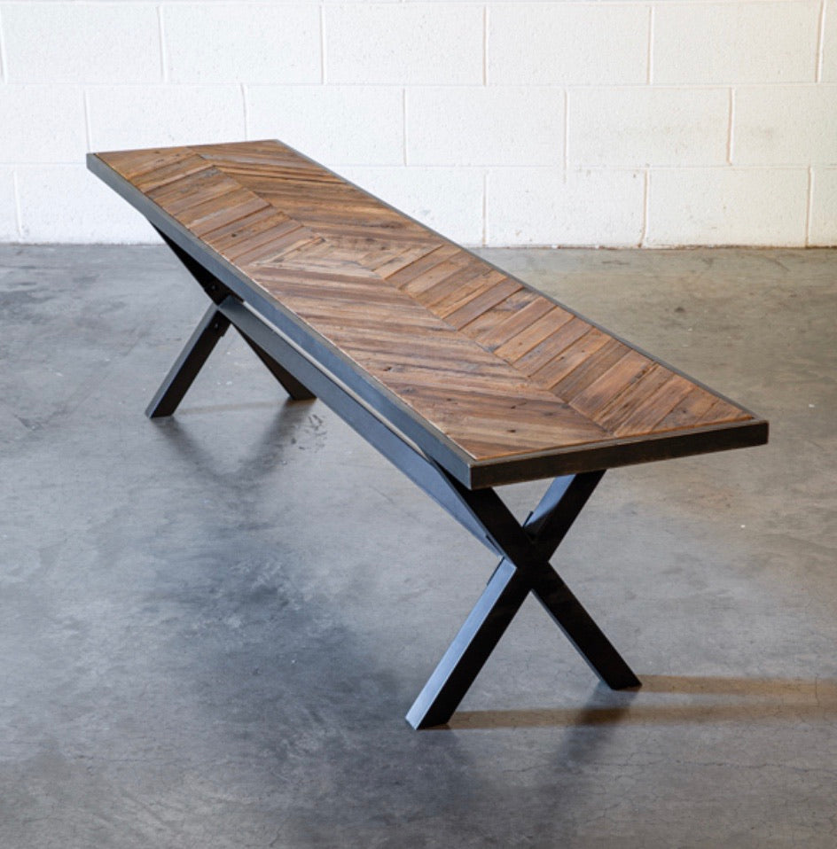 Metal Frame Reclaimed Wood Bench - Shackteau Interiors