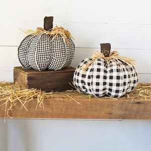 Black and White Gingham Pumpkin