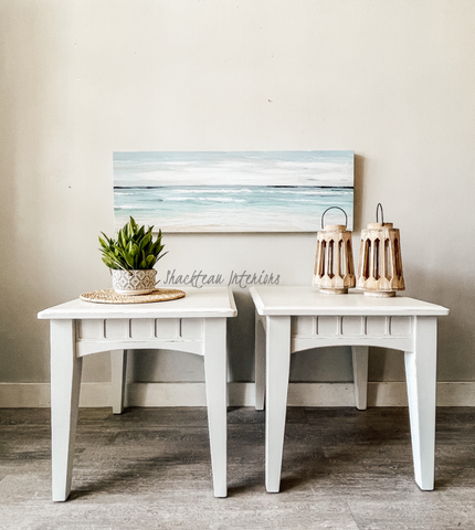 Set of White End Tables