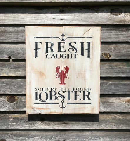 Hand Painted Lobster Sign