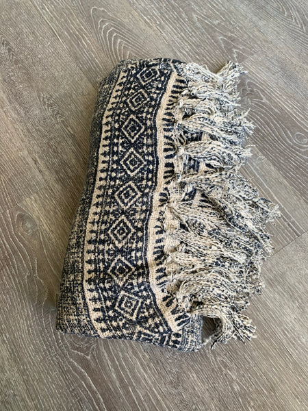 Natural Blue Throw Blanket