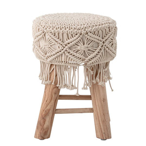 Natural Boho Wood Stool - Shackteau Interiors