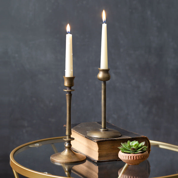 Set of Two Gold Candle Holders