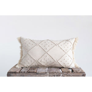 Woven Cotton & Linen Blend Lumbar Pillow
