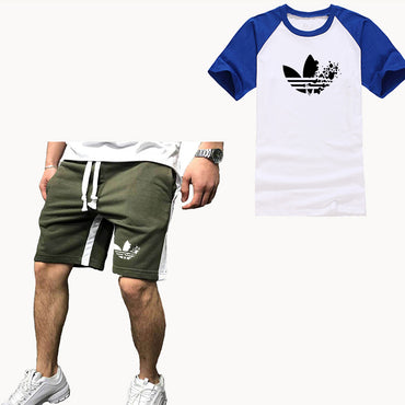 New Raglan Sleeves Short Sleeve Sets Print Mens Sets Cotton T Shirt Shorts 2 Pieces Set Tracksuit Men Summer Tees Set Sportswear