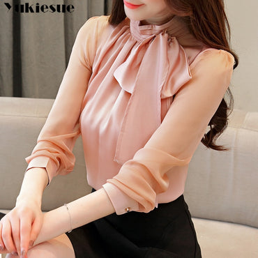 2019 New Summer Fashion Tunic Women Blouse Shirts Long Sleeve Tie Bow Chiffon Turtleneck Formal Women White Black Shirts