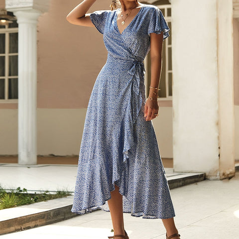 2019 Summer Dress Indie Folk Women Sexy Printed Bow Holiday Beach Wrap Dresses V-Neck Boho Dress Elegant Party Sundress M0511